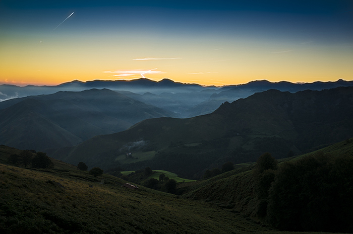 Sunrise over the Pyrenees.