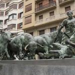 Pamplona, Camino de Santiago, bull running sculpture